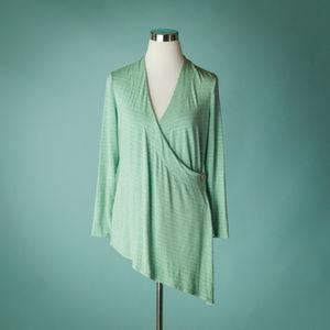 Soft Surroundings Large Green Gray Stripe Wrap Top